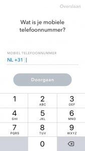 snapchat aanmaken invullen telefoonnummer scherm