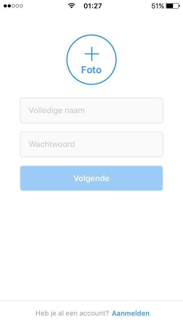 instagram aanmaken met smartphone volledige naam en wachtwoord invullen
