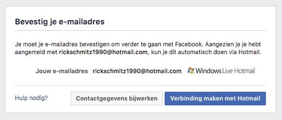 facebook account aanmaken melding e-mailadres bevestigen